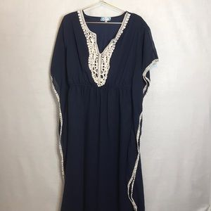 J Gee Dresses - J Gee Maxi  Kaftan/ Mumu Navy & Cream  Large